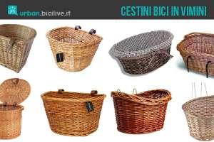 Una selezione di cestini per biciclette in vimini