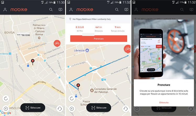 prenotazione di mobike via app