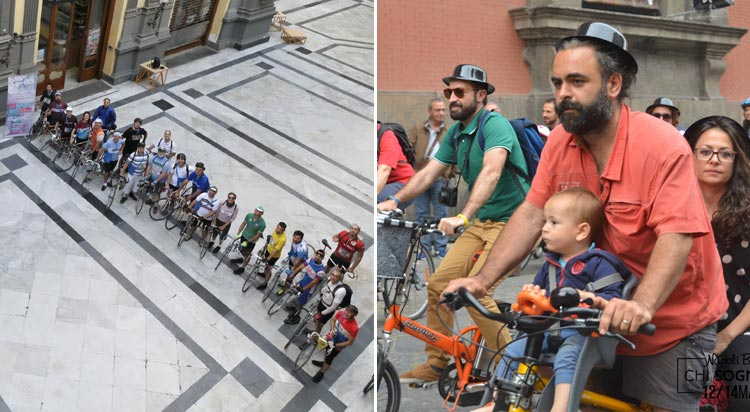 ciclisti vintage e famiglie in bici al napoli bike festival