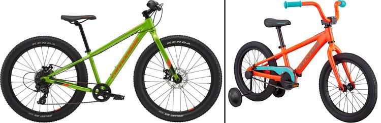 mtb e bici con le rotelle per bambini  e ragazzi cannondale