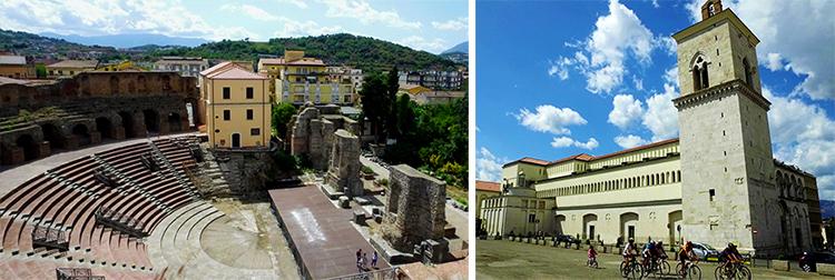 foto dei teatro romano e il Duomo di Benevento