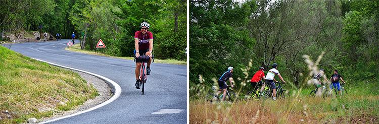 foto di due momenti degli itinerari dei percorsi dell'anima in bici in campania