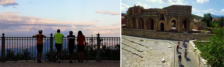 foto di due scorci degli itinerari dei percorsi dell'anima in bici in campania