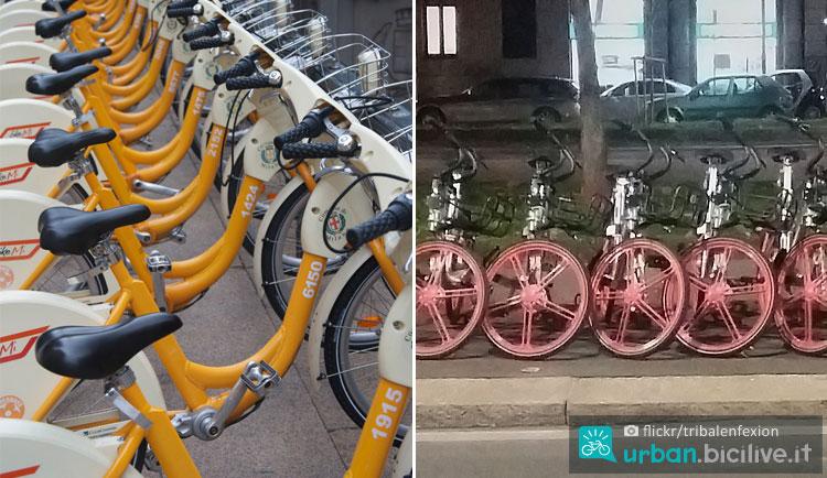 biciclette del bike sharing parcheggiate a Milano