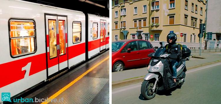 foto del metro e dello scooter nella comparativa sui mezzi di trasporto