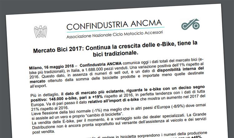 Il comunicato ufficiale dell'ANCMA sui dati del mercato 2017