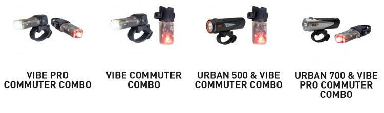 Set di combinazioni luci per biciclette Vibe