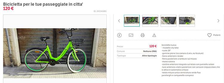 annuncio di vendita di una bicicletta Gobee Bike