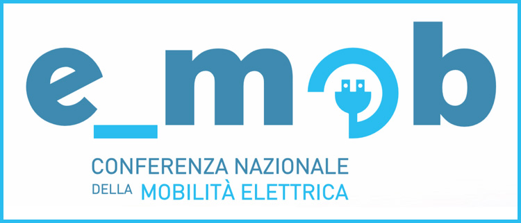 Il logo di e_mob la conferenza nazionale sulla mobilità elettrica