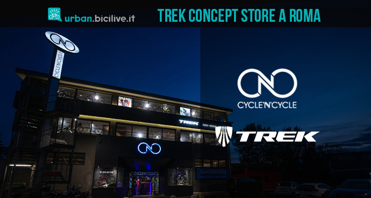 Vista notturna del Trek Concept Store Cycle'n'Cycle di Roma