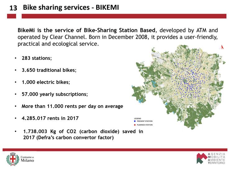 La mappa dei centri di servizio bike sharing di BikeMi a Milano