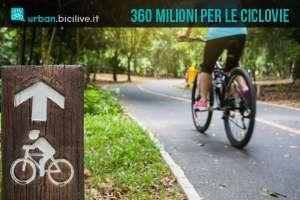 ciclo-turista pedala su una ciclabile