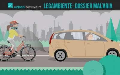 ciclista pedala in una città italiana inquinata