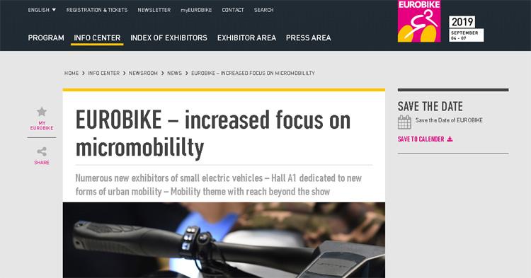La pagina web di Eurobike 2019 sulla micromobilità elettrica