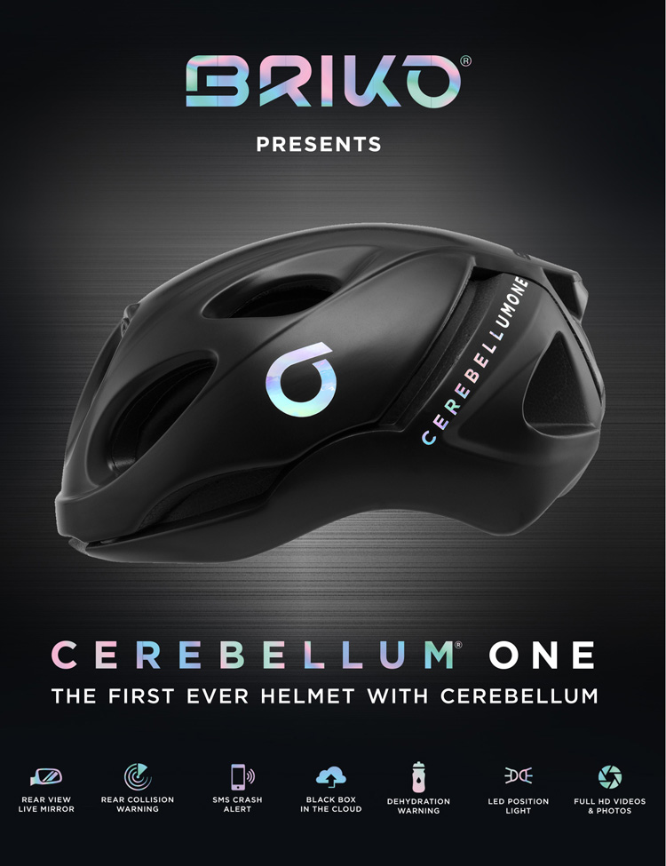 Locandina promozionale del casco Briko Cerebellum One 2019