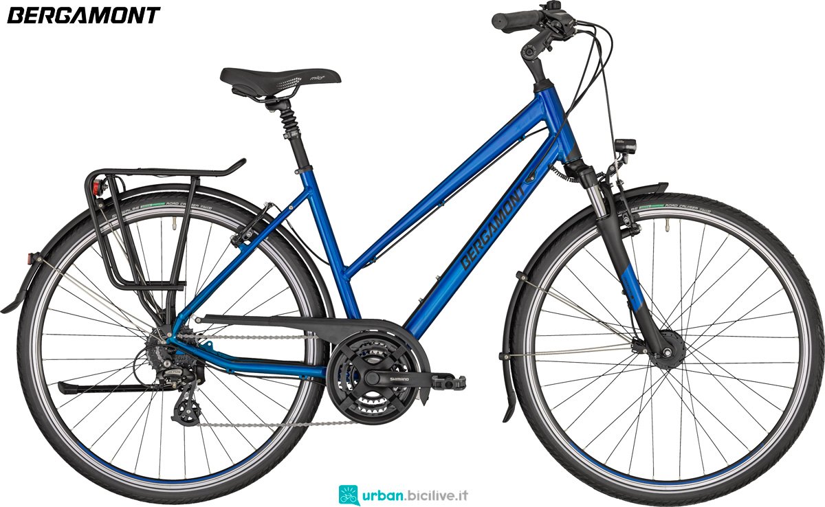 Una bici Bergamont Horizon 3 in verione Lady con tubo superiore del telaio ribassato