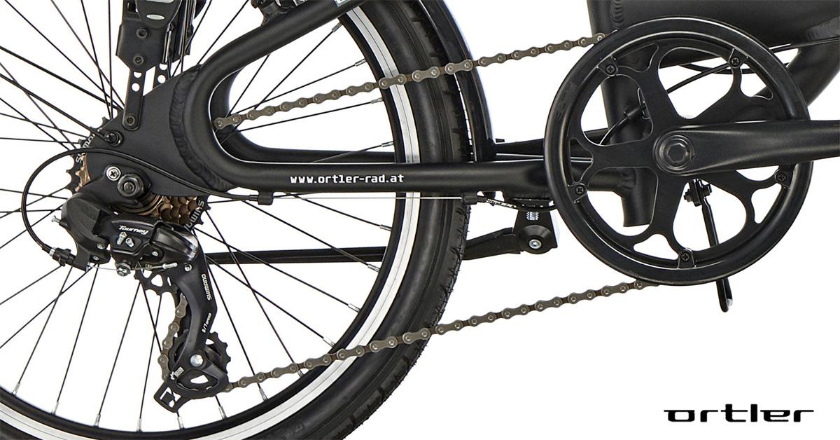 La trasmissione della bici Ortler London Two 20″ Black
