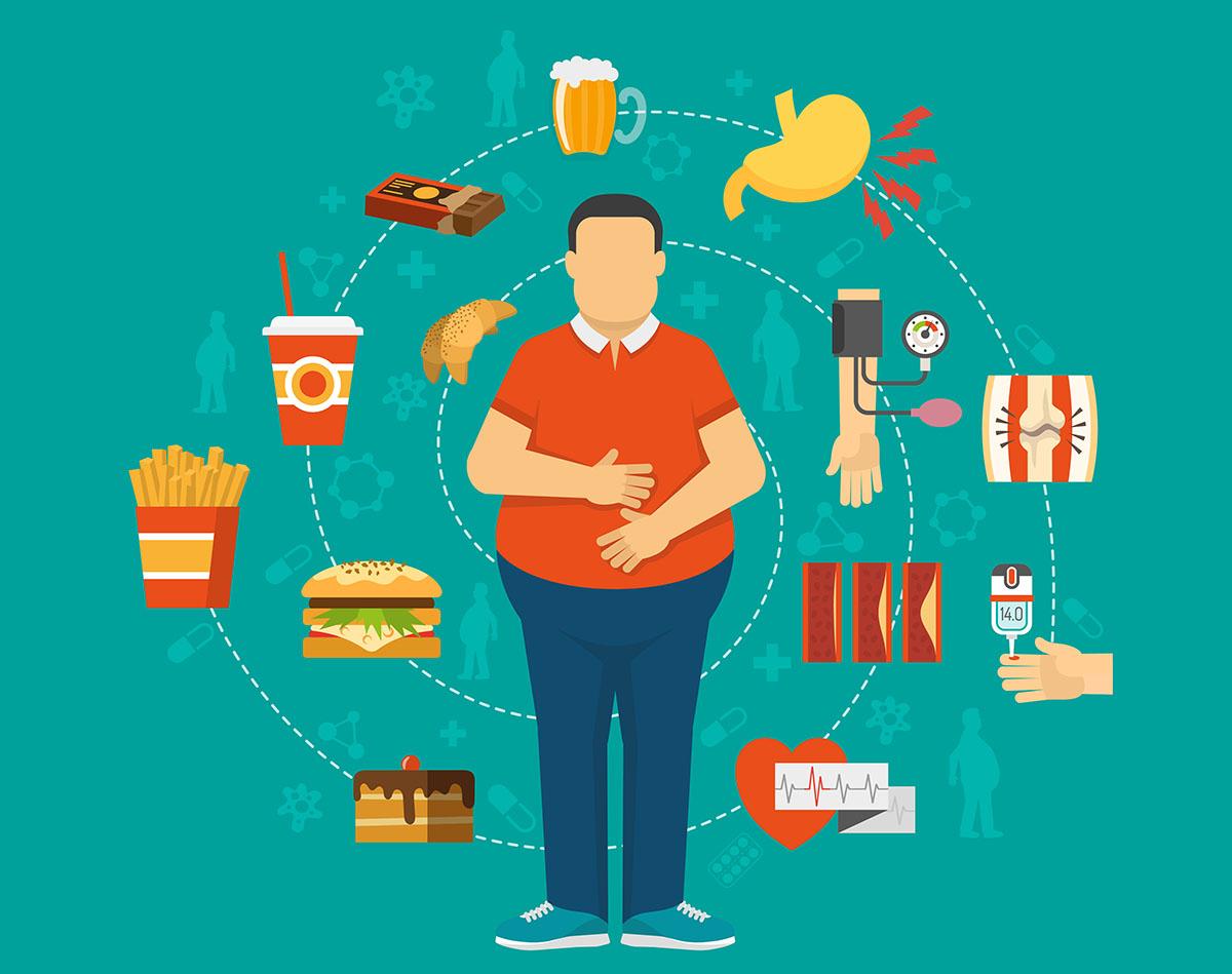 Un uomo che con troppo cibo può portare a patologie cardiovascolari
