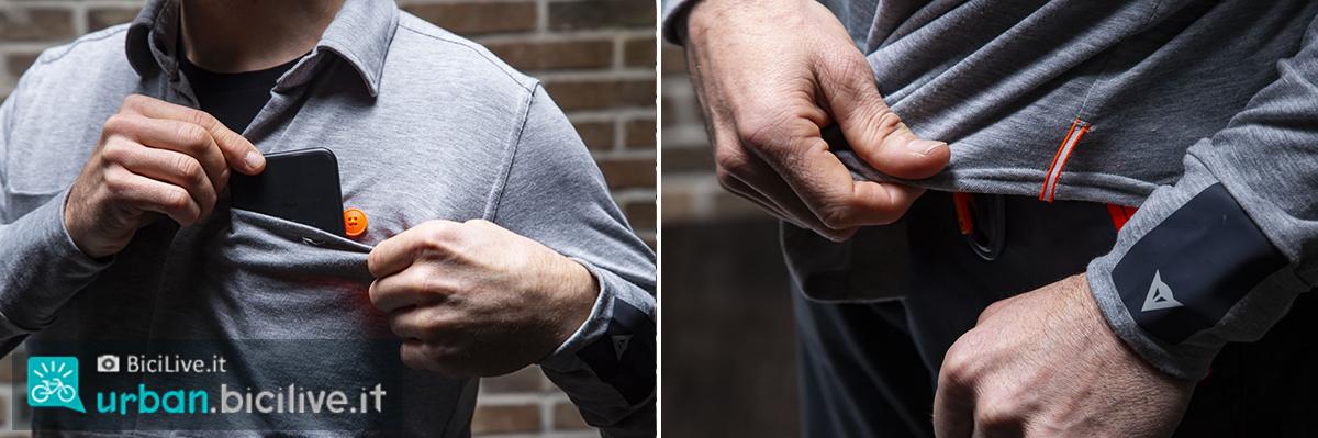 foto dei dettagli della camicia dainese awa black