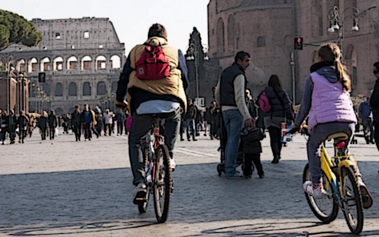 Ciclisti a spasso per Roma