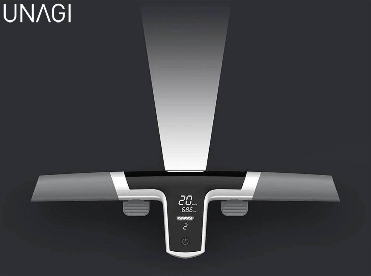 La luce frontale a LED da 47 lumen montata sul monopattino Unagi The Model One 2020