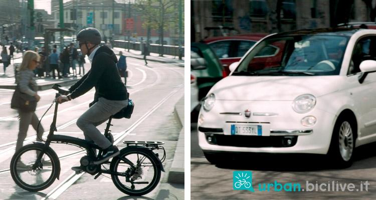 foto di una ebike e una macchina