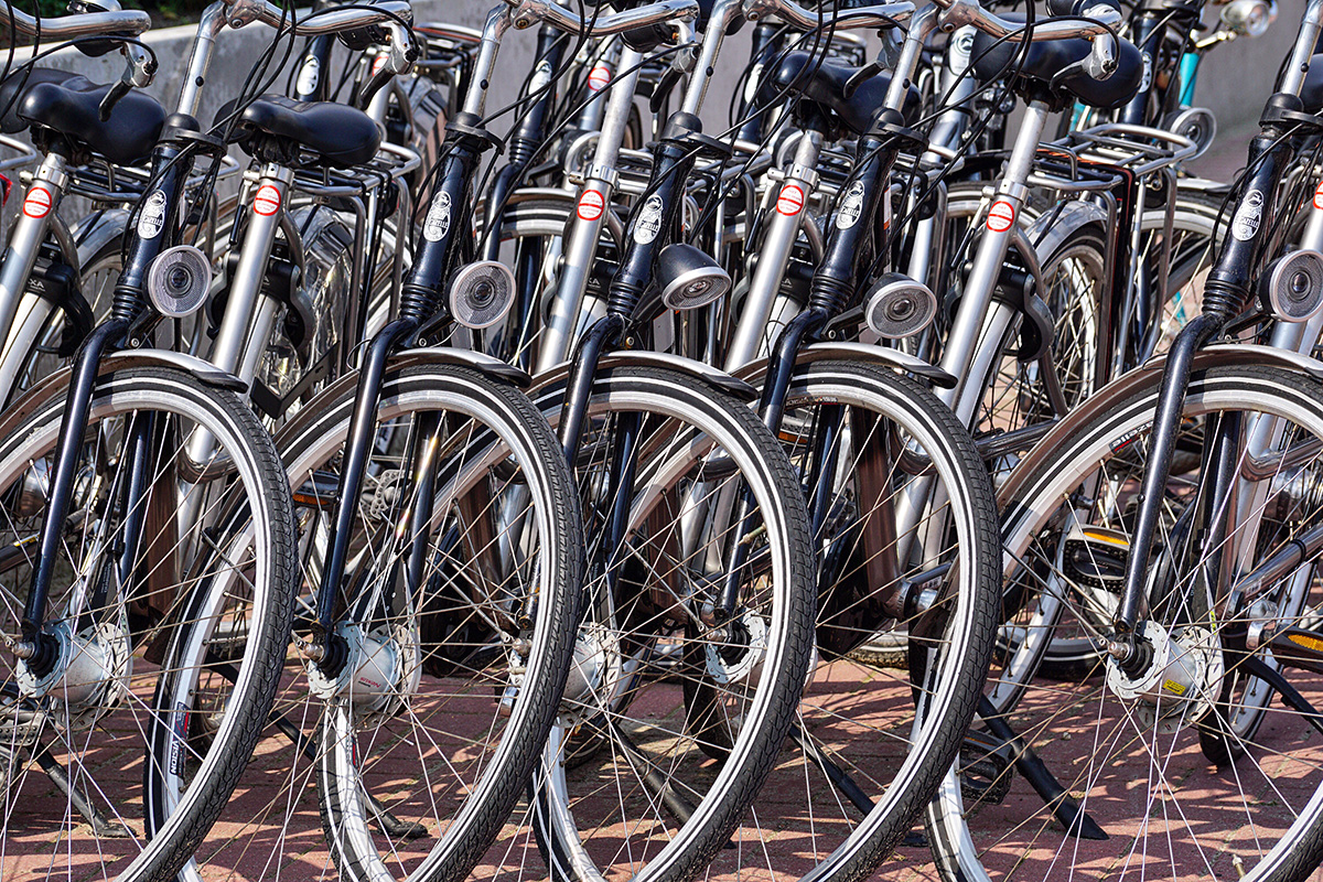 Tante biciclette parcheggiate