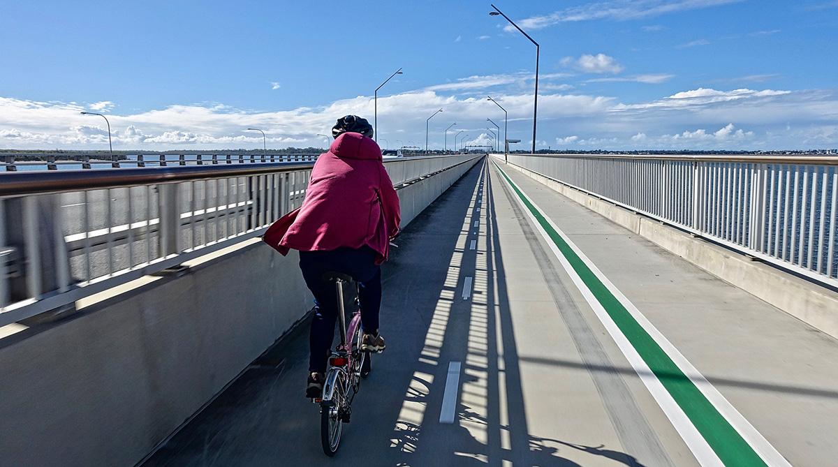 Un ciclista che pedala sulla pista ciclabile