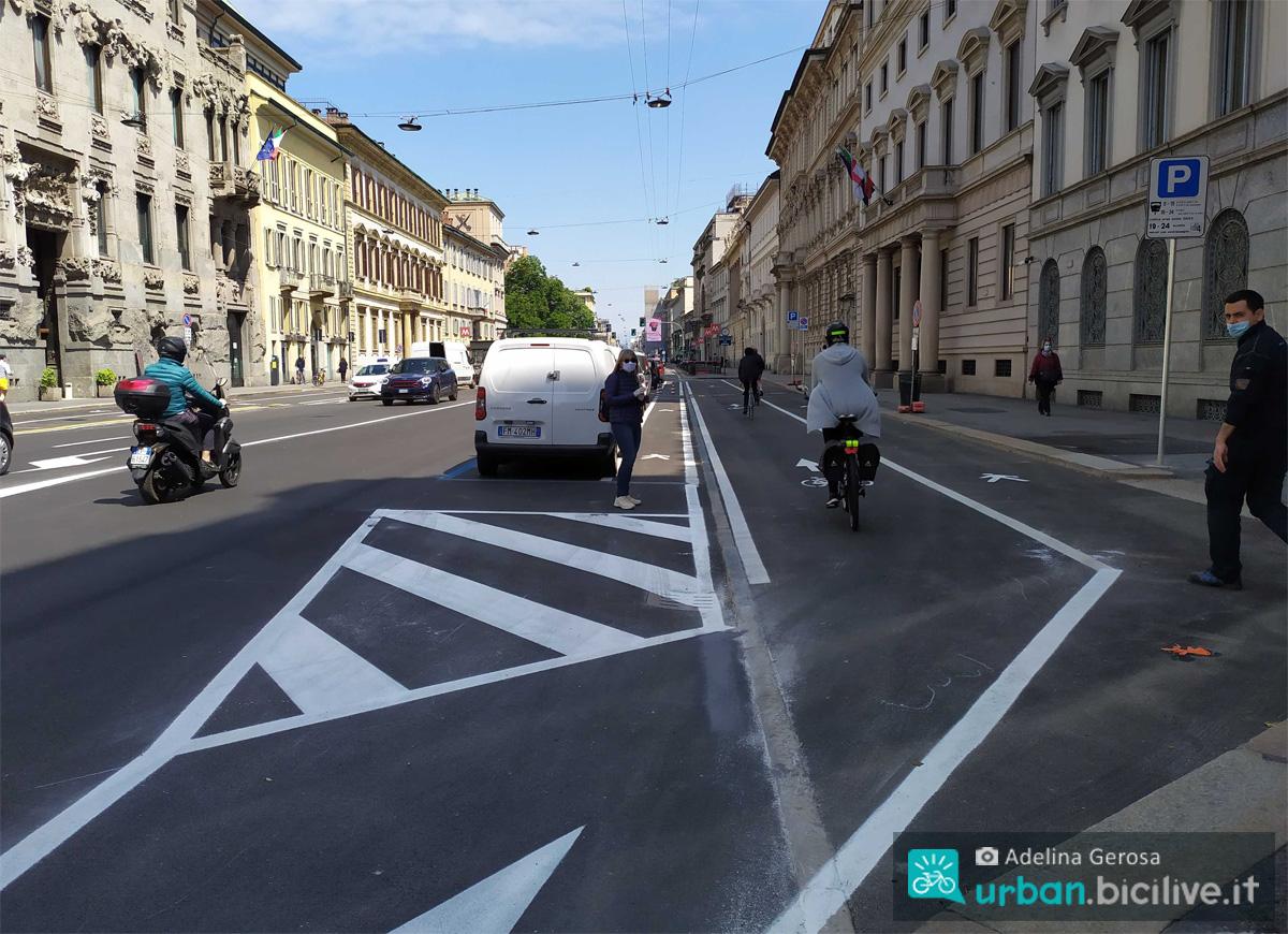 Pista ciclabile a Milano da Piazzale Loreto a Porta Venezia
