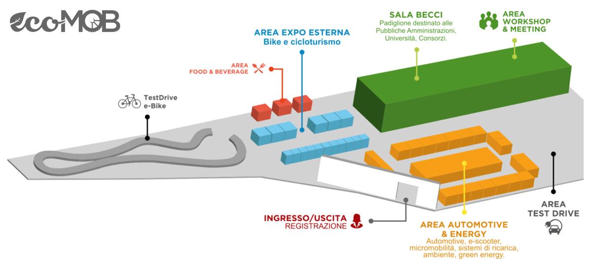 La planimetria con l'organizzazione delle aree di EcoMob Expo Village 2020