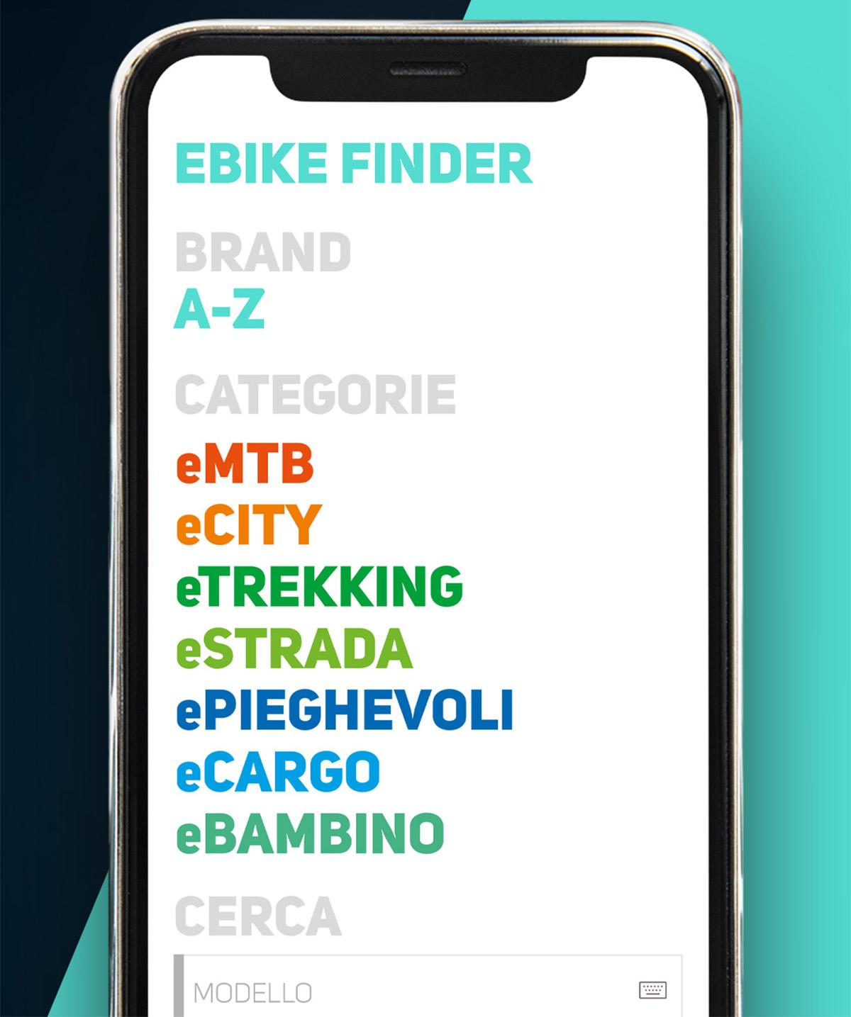 La pagina ebike finder che permette di trovare la giusta ebike nell'app di BiciLive