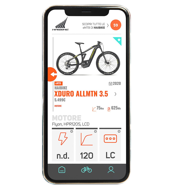 La scheda di una bici elettrica presente nell'app BiciLive