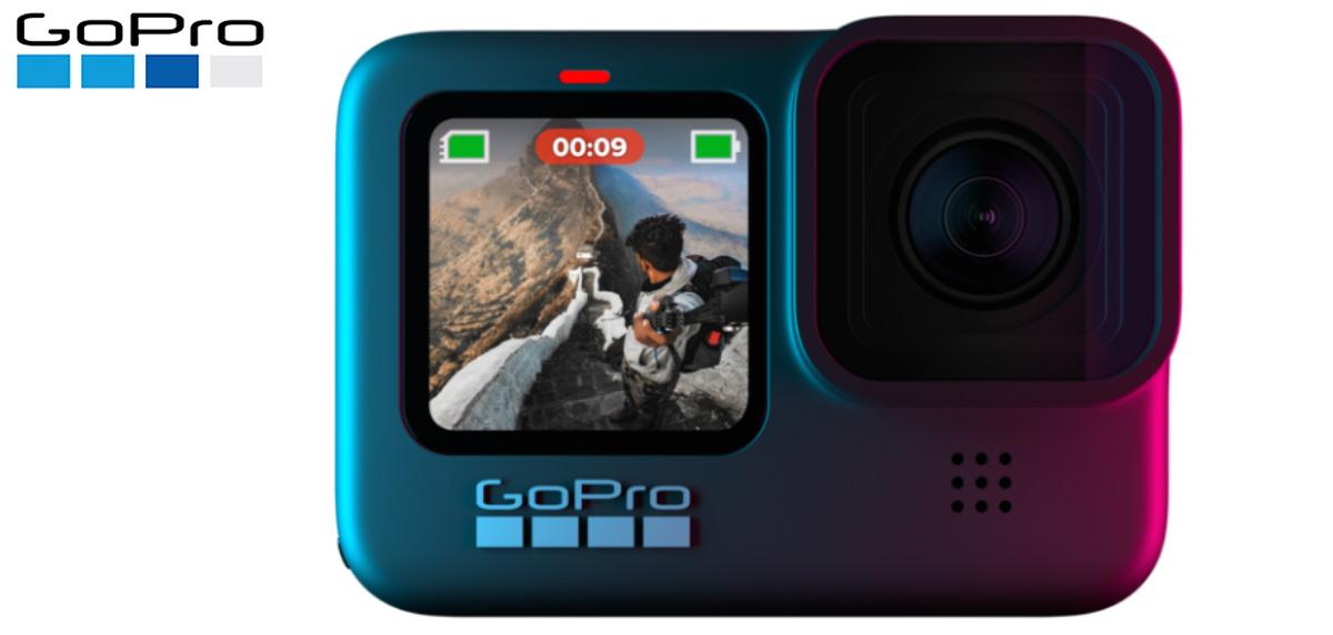 La nuova GoPro HERO9 Black vista frontalmente