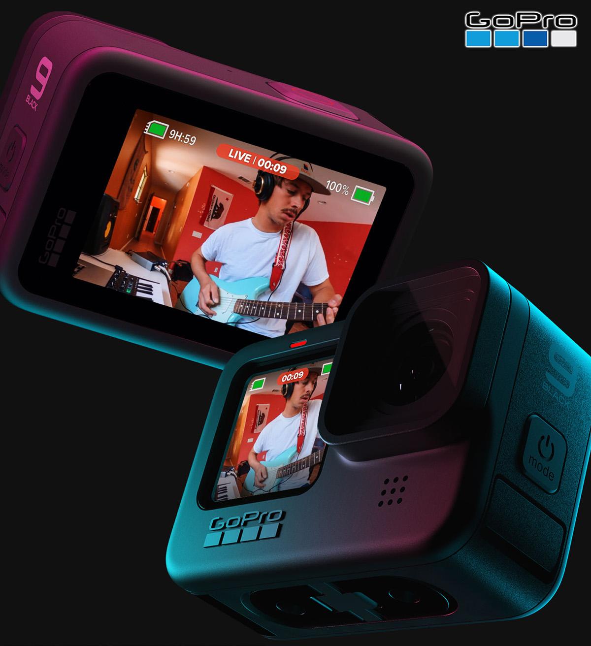 La GoPro HERO9 Black mostra sullo schermo un video in streaming