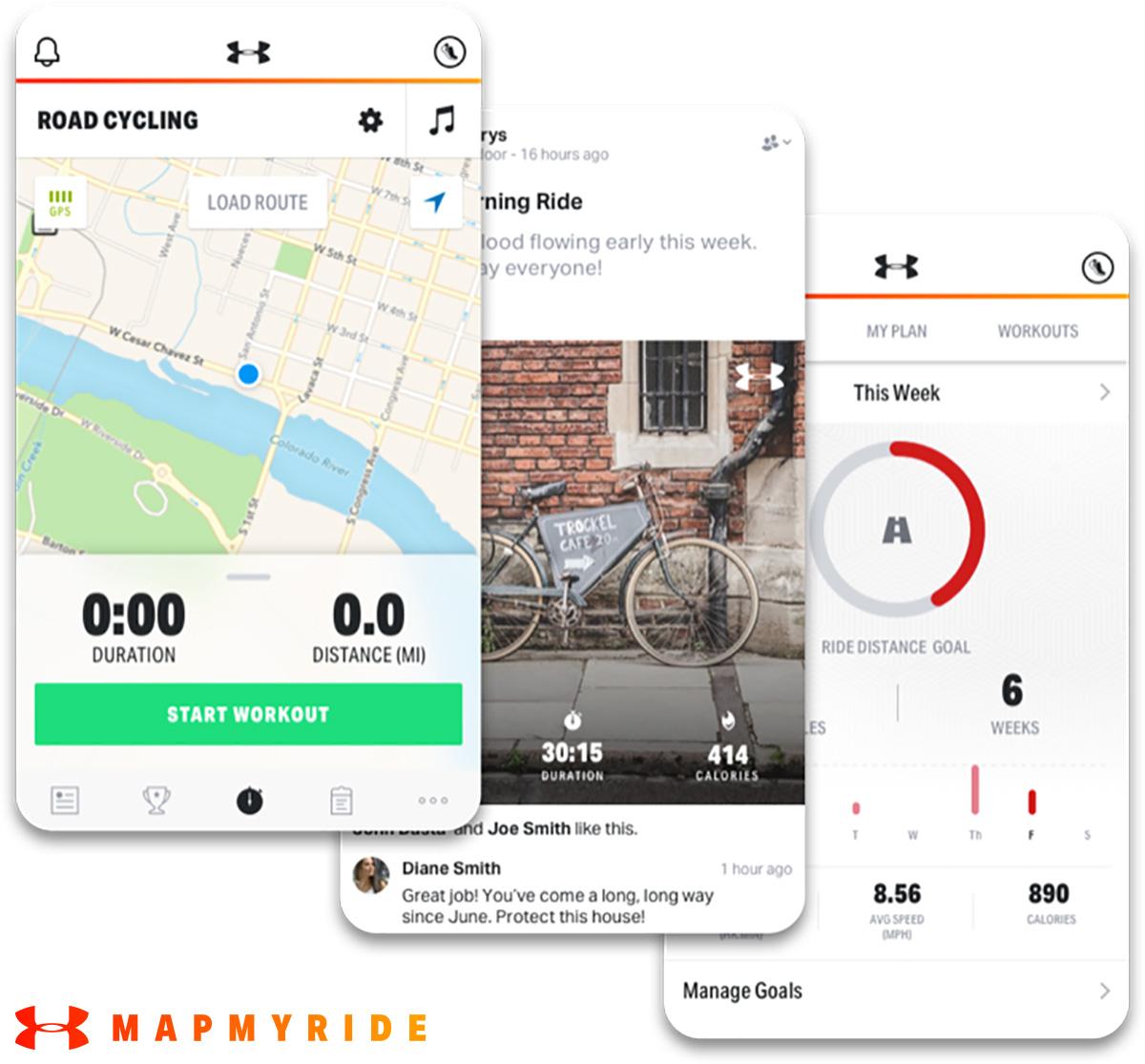 Alcune schermate della nuova app Mapmyride per scoprire nuovi percorsi e localizzarsi tramite GPS