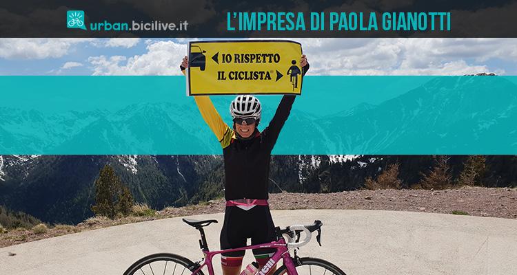 Le imprese di Paola Gianotti per la sicurezza dei ciclisti sulla strada