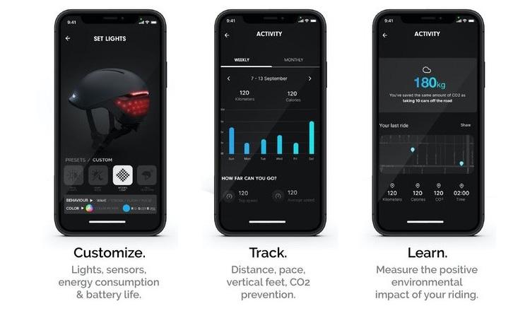 L'app con cui controllare le funzioni del casco Faro di Unit 1 per ciclisti urbani
