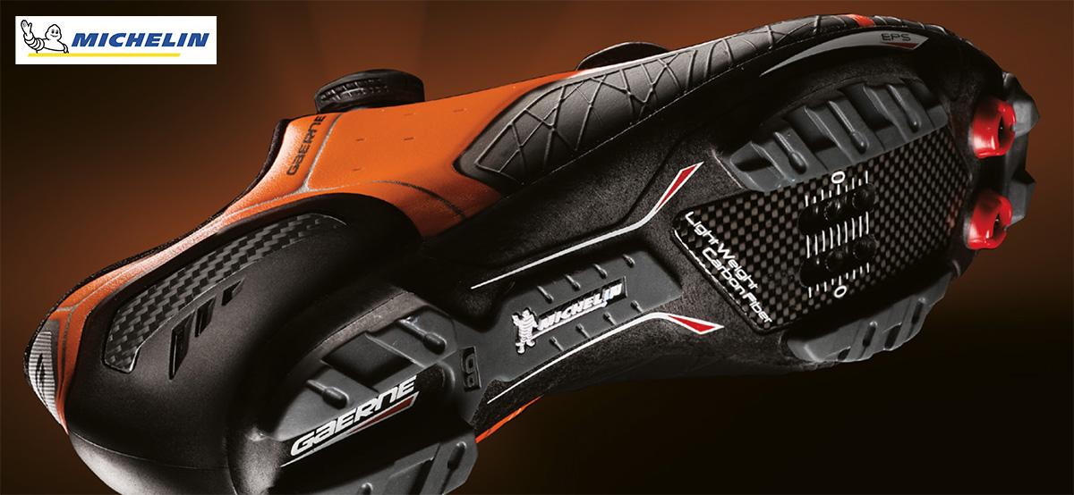 Dettaglio della suola Michelin di una scarpa Gaerne da mountain bike