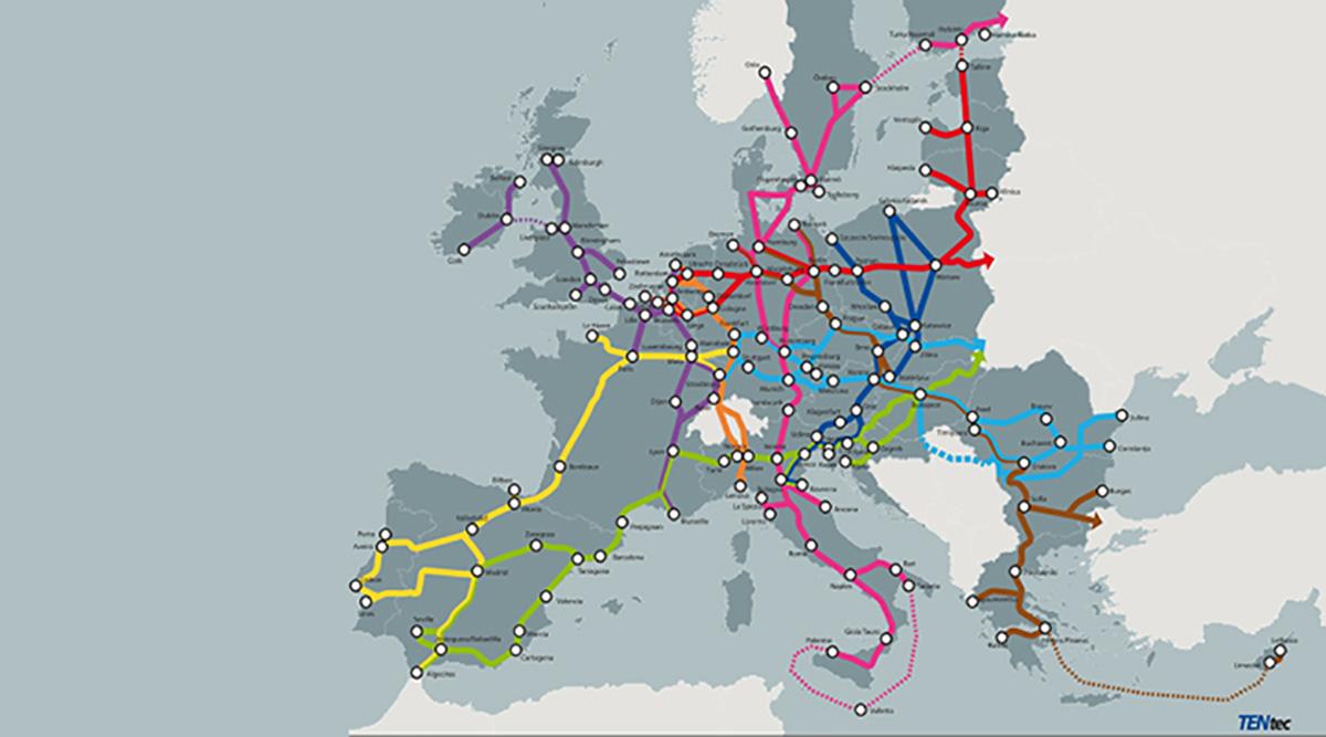 La mappa della rete di trasporto transeuropea multimodale TEN-T