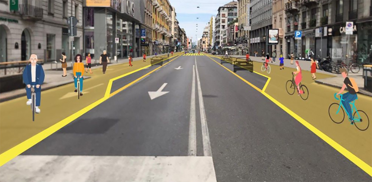 Le strade riorganizzate per le fasce dedicate alle biciclette