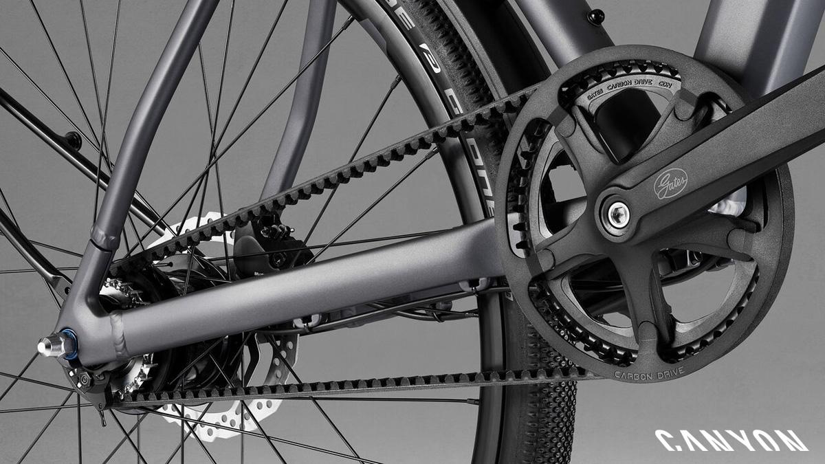 Trasmissione a cinghia equipaggiata sulla bici Canyon Commuter 2021