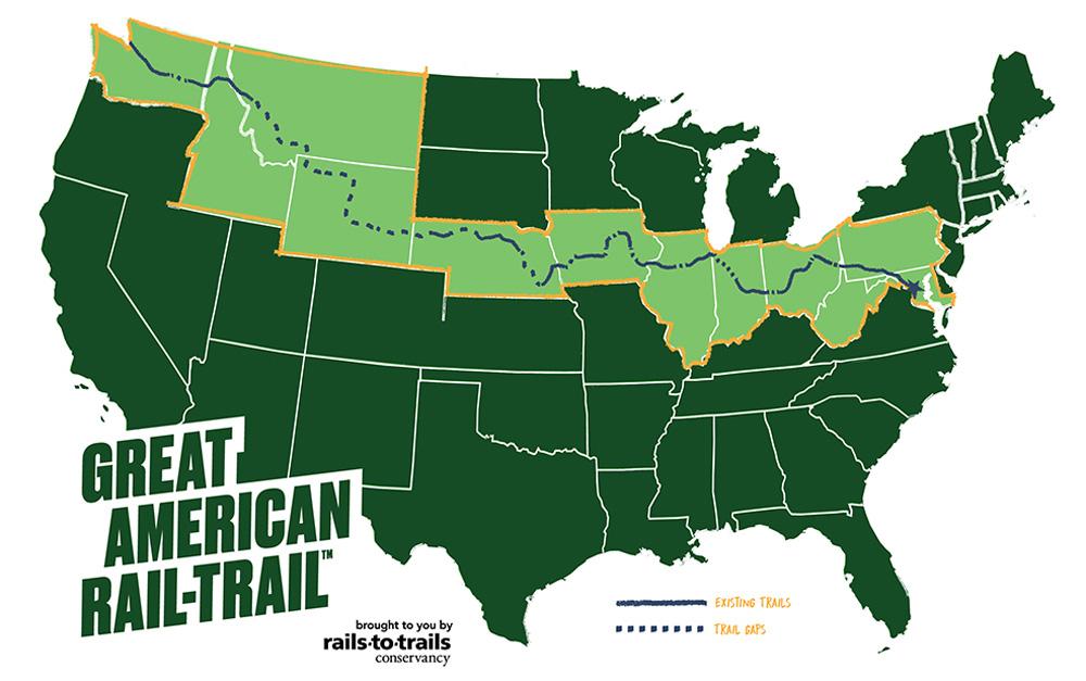 Una mappa della pista ciclabile americana Great American Rail Trail