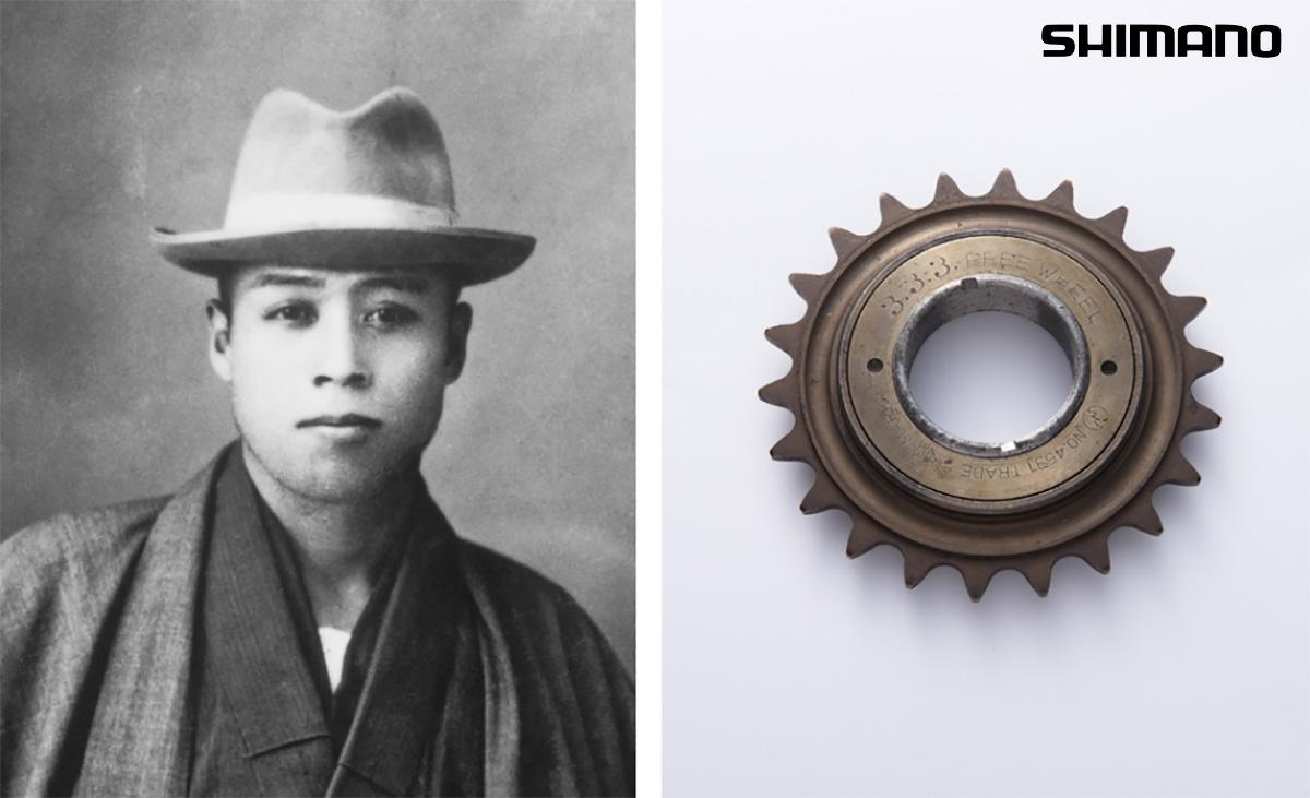Uno scatto del fondatore Shozaburo Shimano e del primo meccanismo a ruota libera shimano 3.3.3