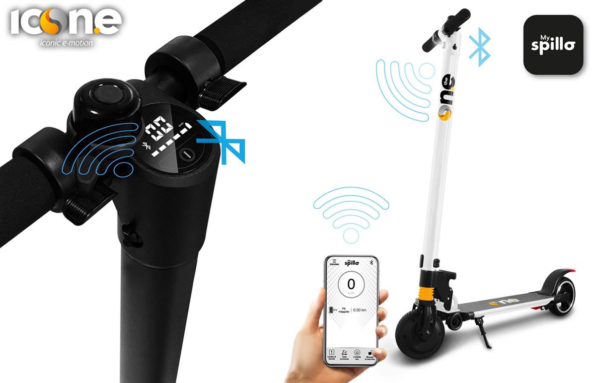 Il nuovo monopattino elettrico Icone Spillo Pro si collega con lo smartphone comunicando dati e offrendo il controllo remoto del blocco di sicurezza