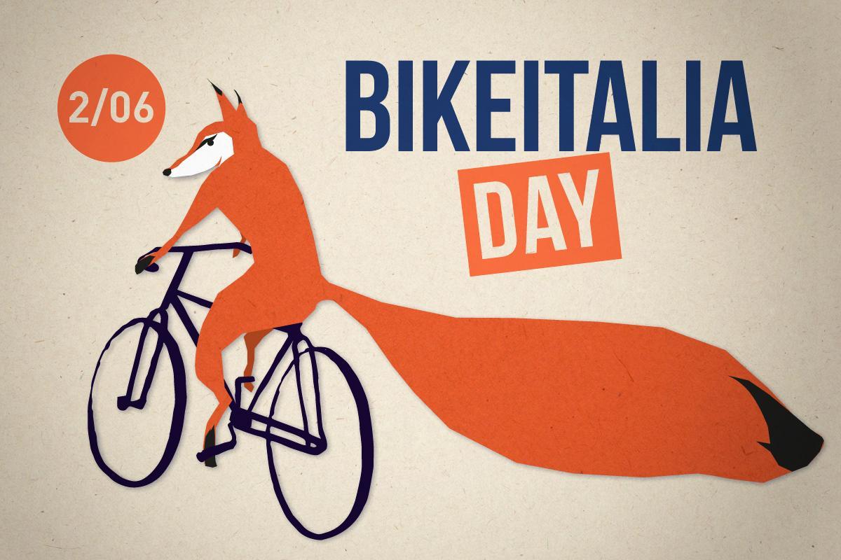 Dettaglio della locandina del BikeItalia Day in cui una volpe monta in sella a una bici