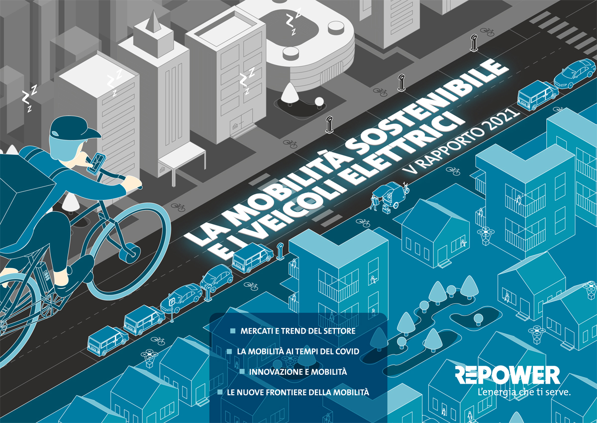 La copertina del white paper ideato da Repower per discutere la mobilità sostenibile 2021