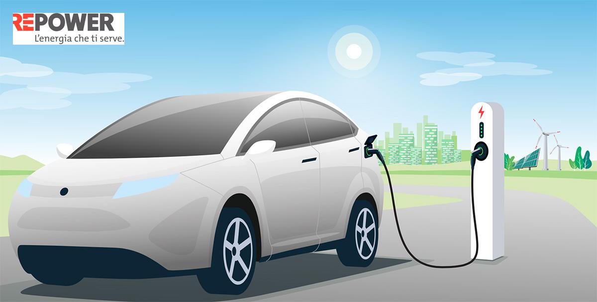 Illustrazione di un auto elettrica presente nella quinta edizione del White Paper Repower 2021