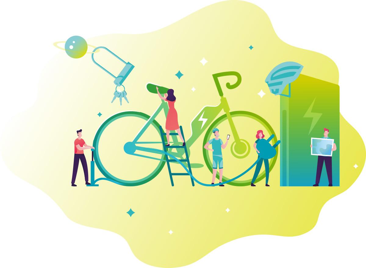 Illustrazione del mondo ebike realizzata dall'agenzia creativa moma Studio per BiciLive