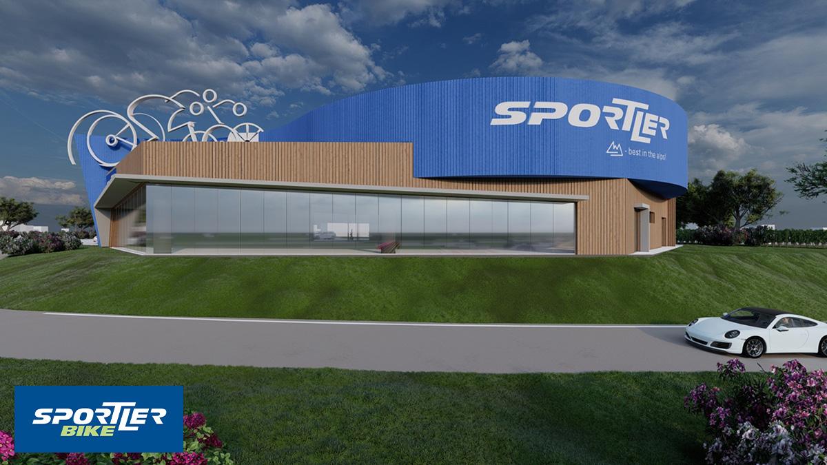 Il rendering del nuovo punto vendita di Sportler e della pista ciclabile antistante
