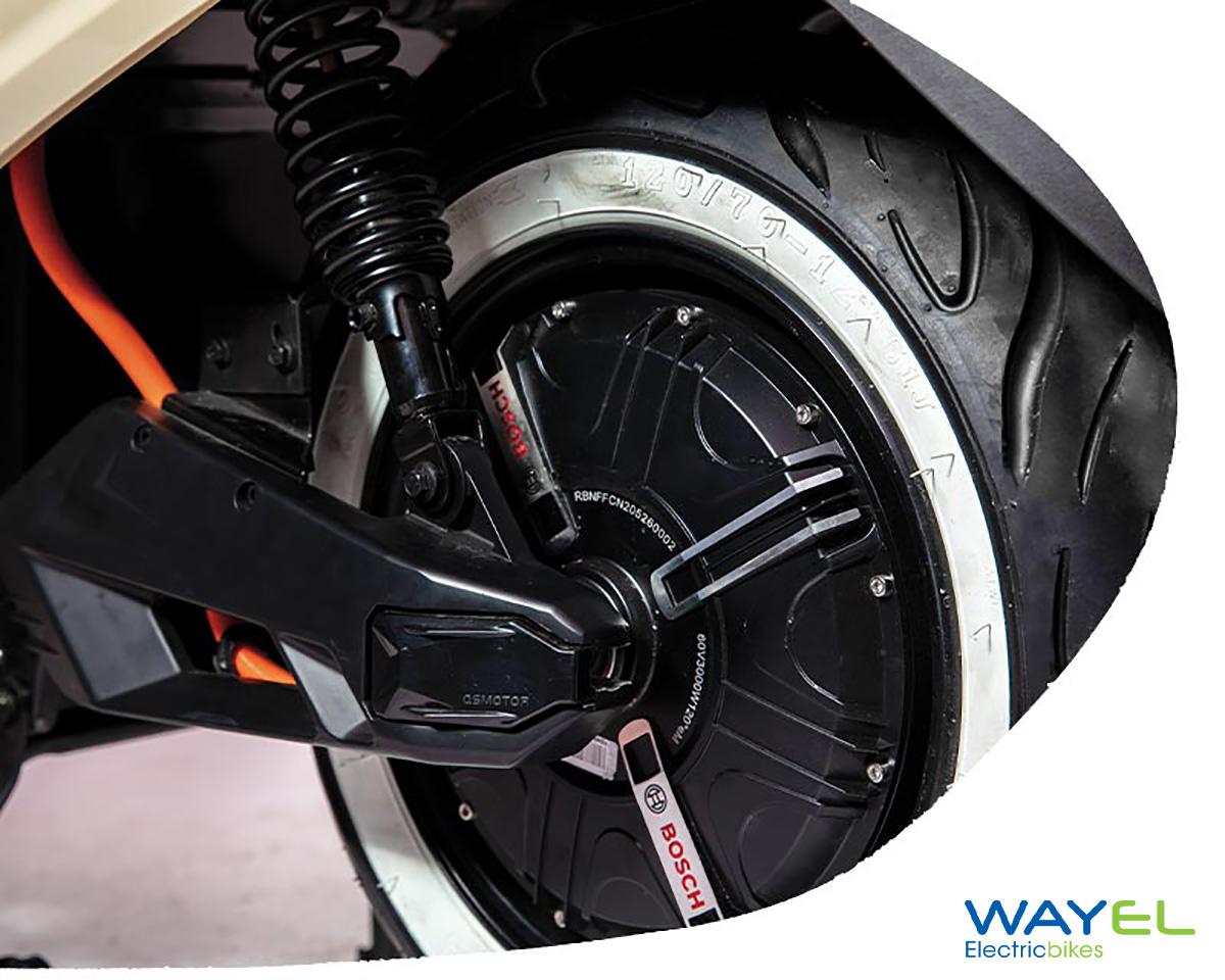 Dettaglio del motore Bosch integrato nella ruota posteriore